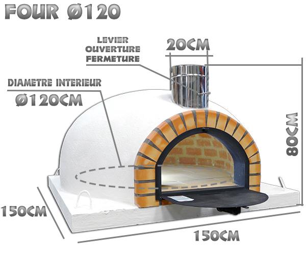 Dimensions du four a pizza isoler diamètre intérieur Ø120cm