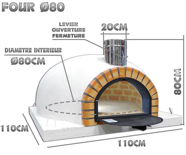 Dimensions du four a pizza isoler diamètre intérieur Ø80cm