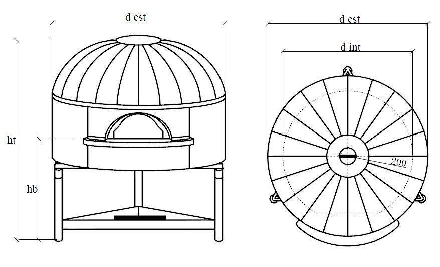 Four à pizza professionnel modèle NAPLE et son dôme en cuivre