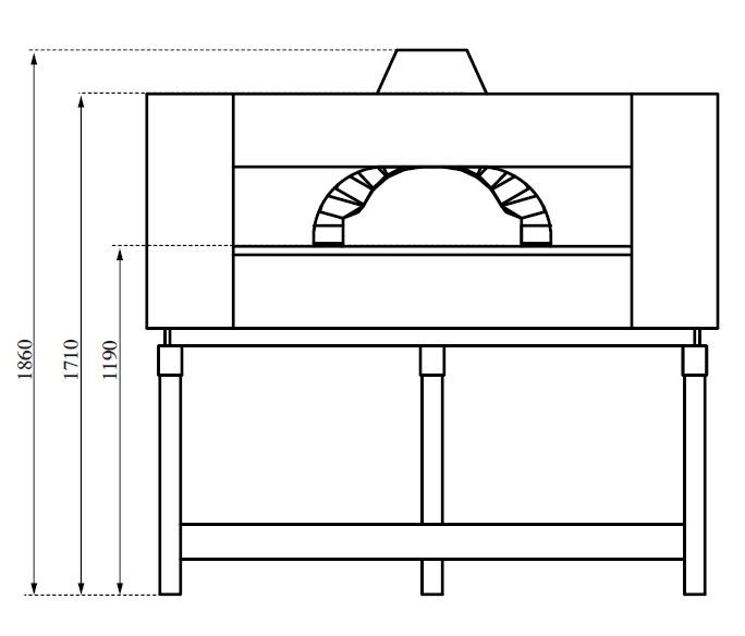 dimension du four à pizza professionnel double combustion
