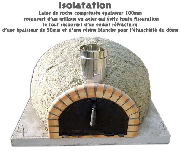 Four a pizza diamètre Ø60cm isoler avec de la laine de roche épaisseur 100mm