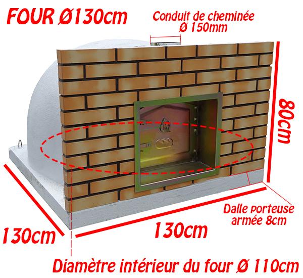 Dimensions du four à bois Ø 130cm