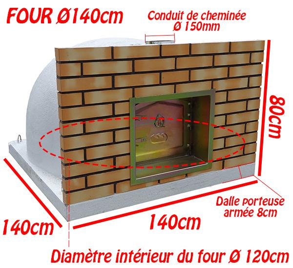Dimensions du four à bois Ø140cm
