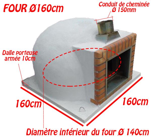Dimensions du four à bois sans façade Ø160cm