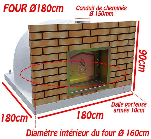 Dimensions du four à bois Ø 180cm