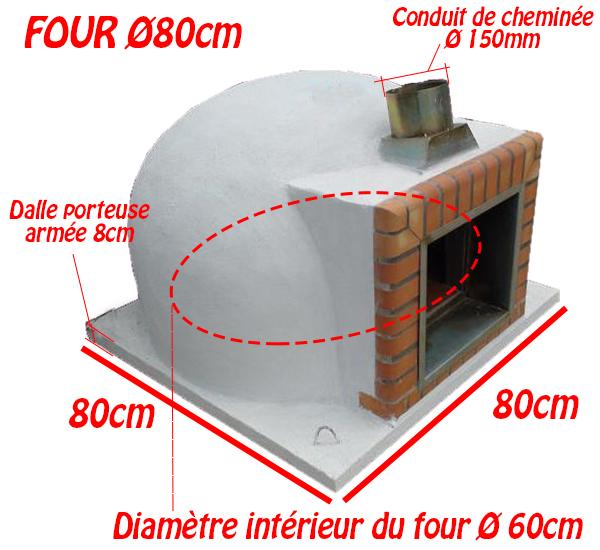 Dimensions four à bois sans façade Ø80cm